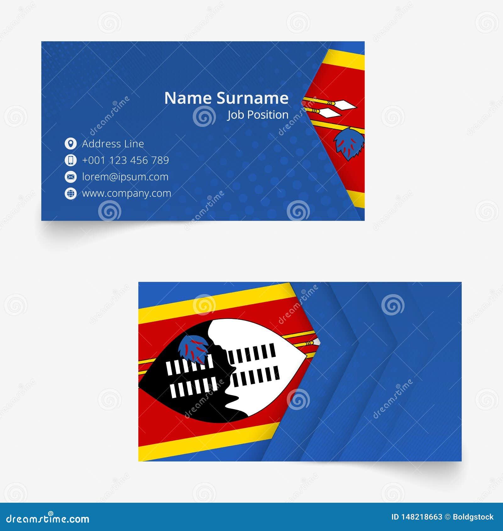swaziland flag business card standard size 90x50 mm