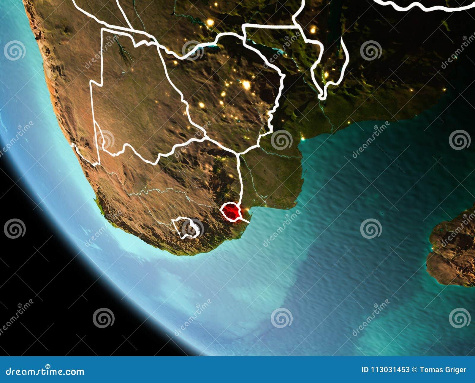 Swazilandia en la noche en la tierra
