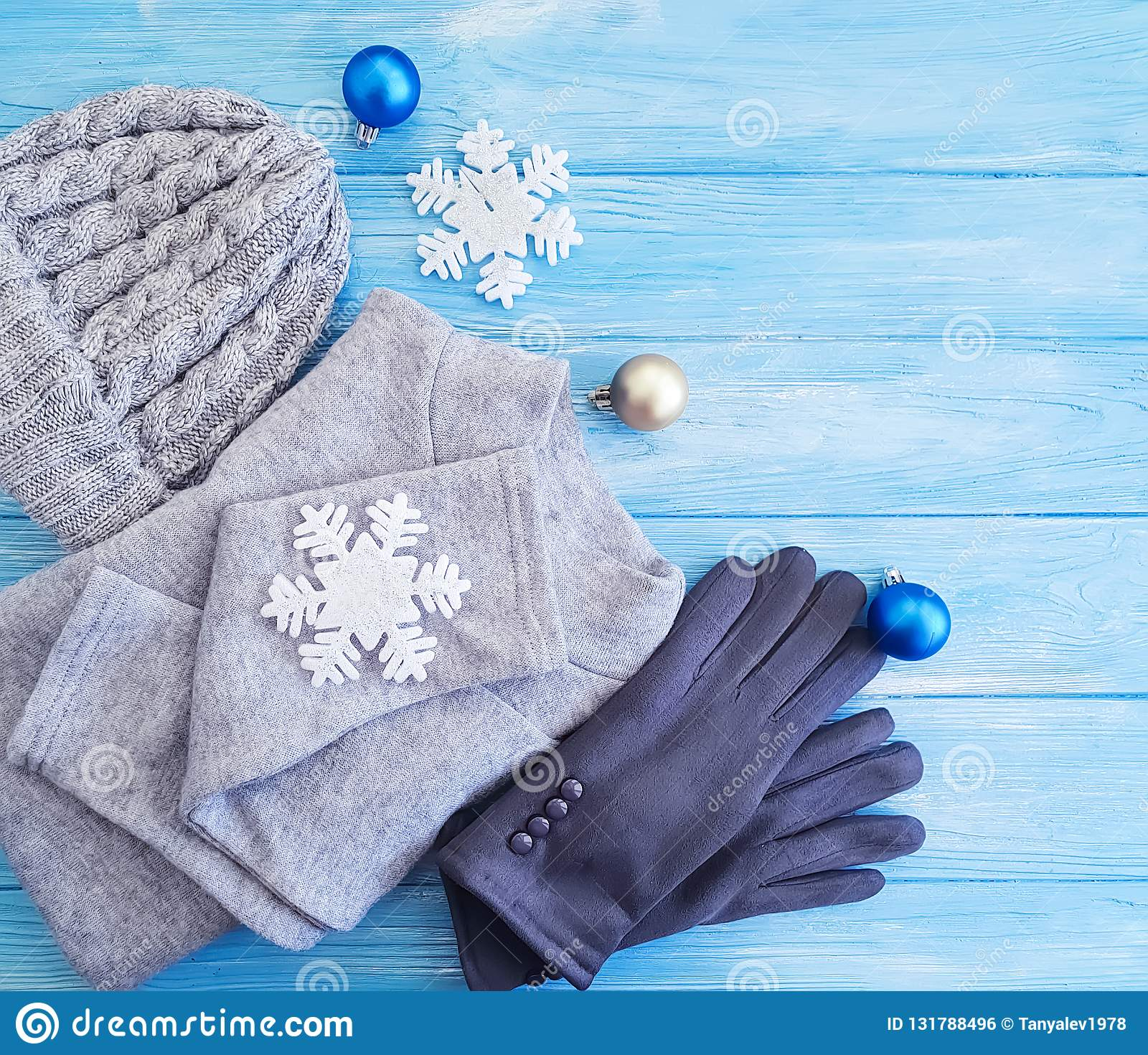 sweater gloves hat cold toy decor christmas new year a background