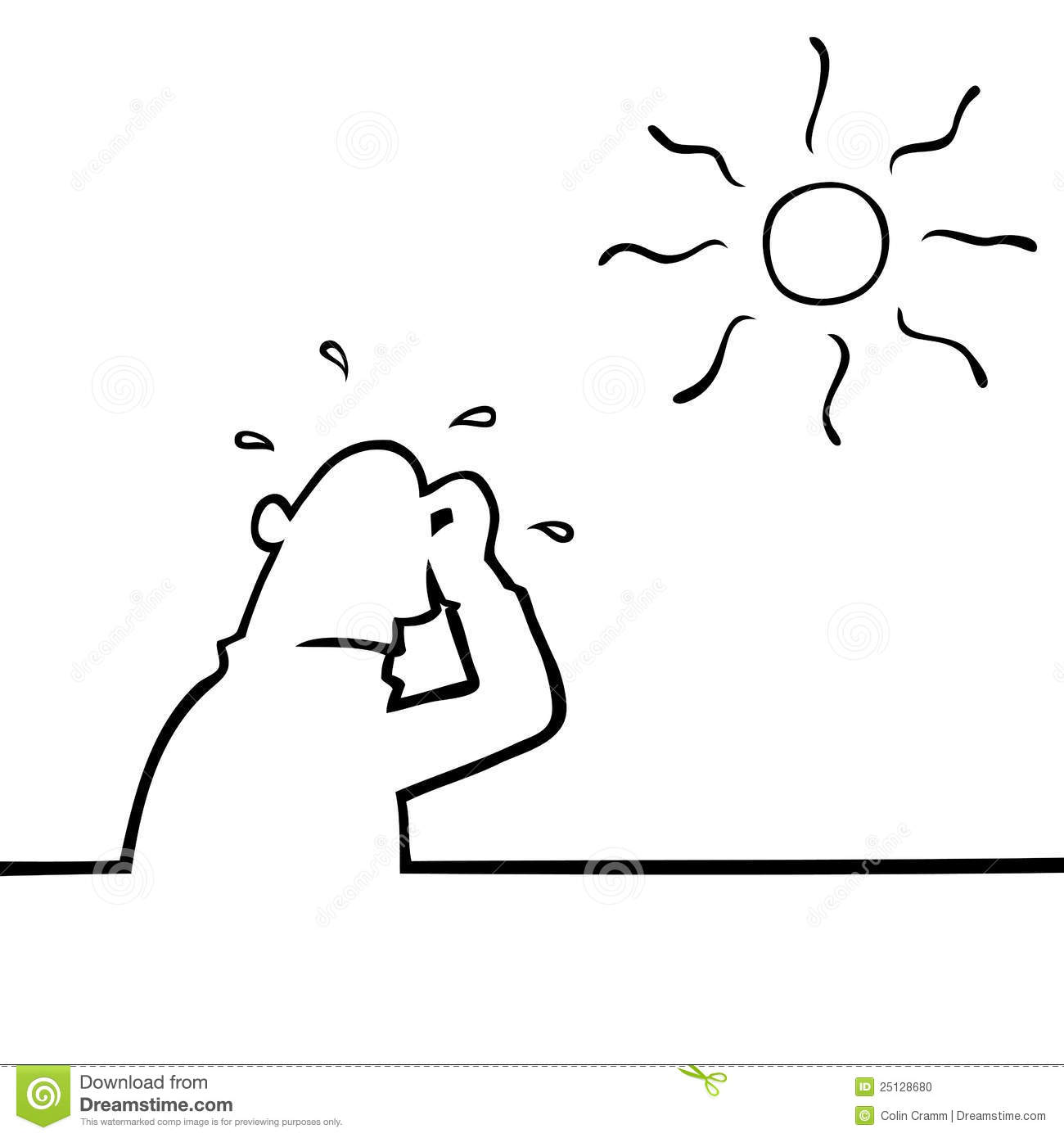 Hot weather clip art black and white