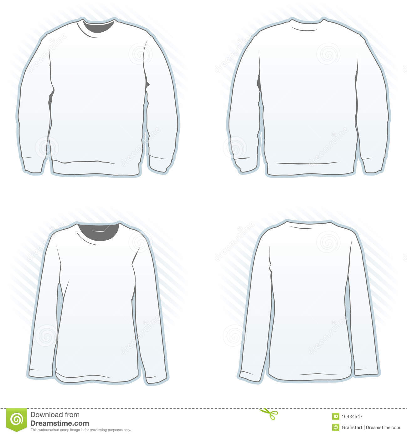 Crew Neck Sweatshirt Template Vector - Cardigan With Buttons