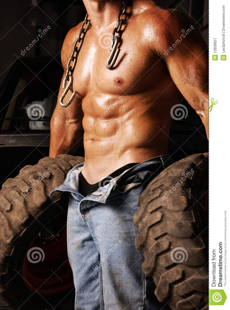 How To Buff A Car >> Sweaty Mechanic stock image. Image of open, tires, cars - 12828927