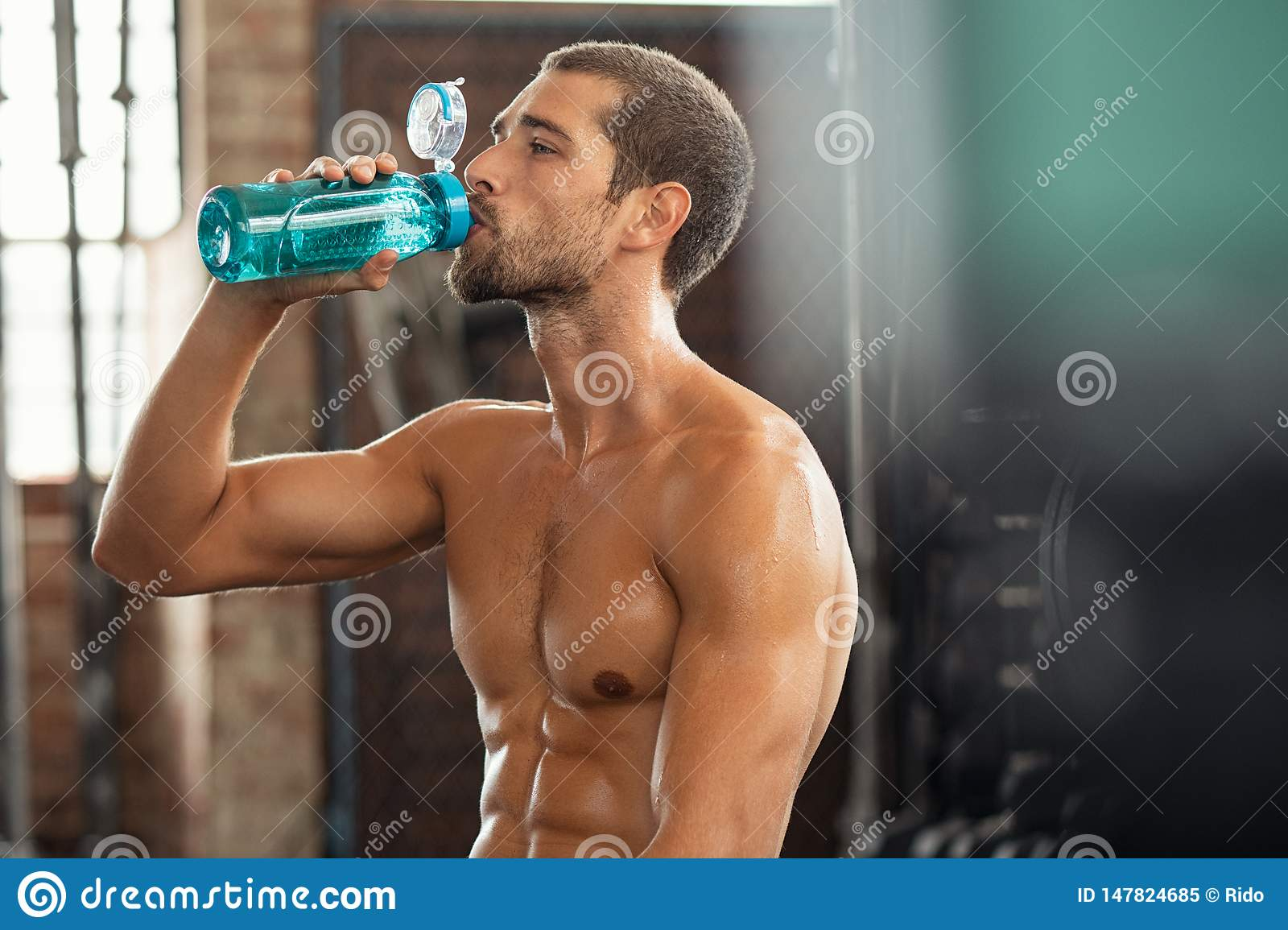 Fitness Man Drinking From Water Bottle Stock Image Image Of