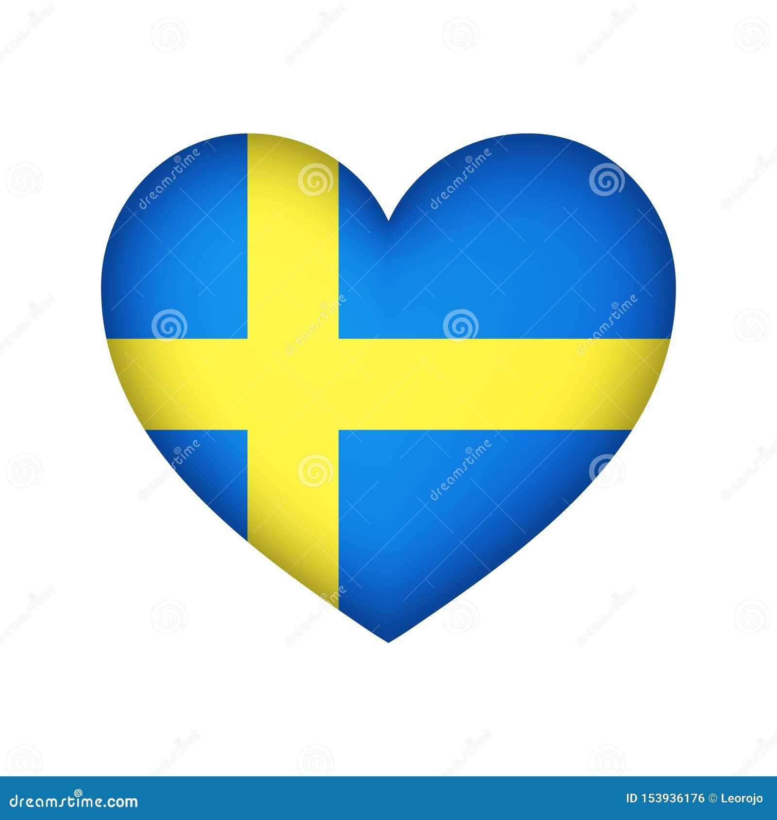 Sweden Heart flag vector design illustration