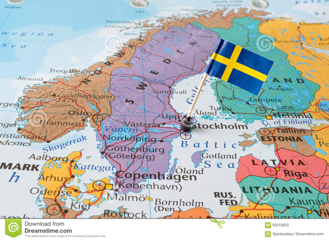 Nordic Europe Map.Sweden Man And Flag Pin Stock Image Image Of Country 93218853