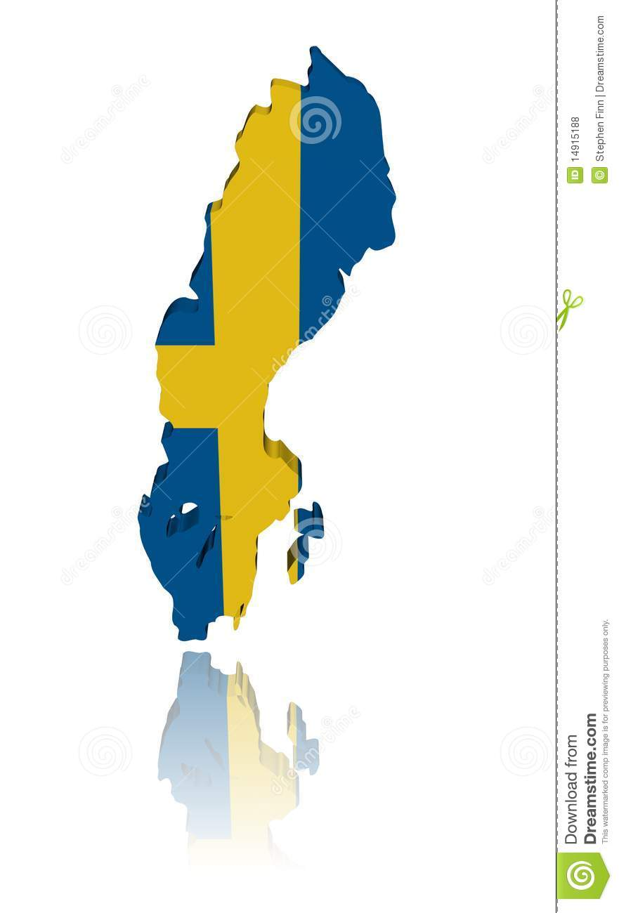 Sweden Map Flag With Reflection Stock Illustration Image - Sweden map free