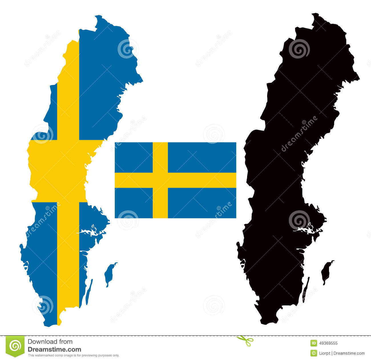 Sweden Map And Flag Vector Stock Vector Image - Sweden map flag