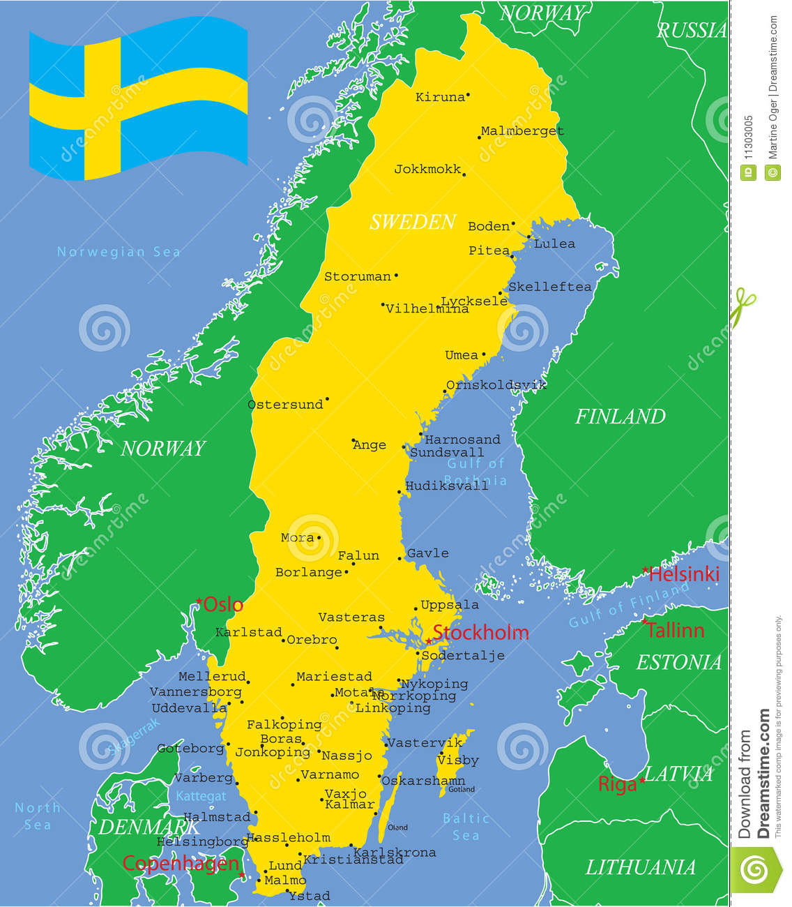 Sweden Map With Major Cities Royalty Free Stock Photo Image - Sweden map uddevalla