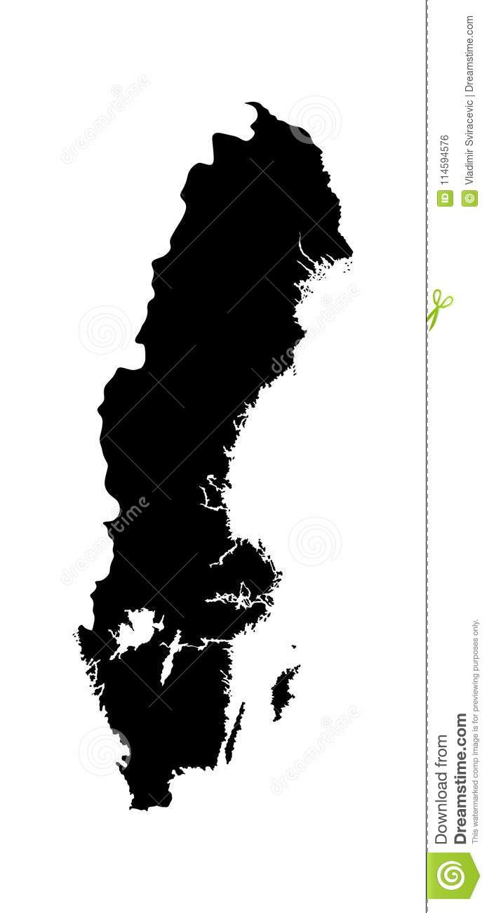 Sweden Map Silhouette Eu Country Europe Country Map Stock