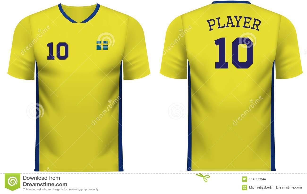 bec0c7805cb Sweden national soccer team shirt in generic country colors for fan apparel.