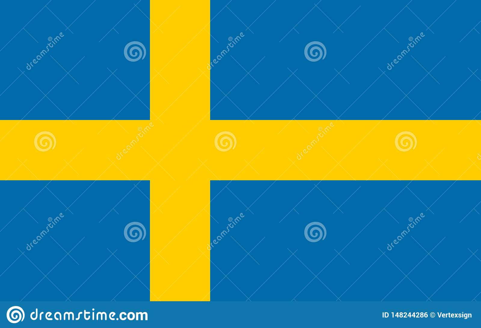 Sweden vector flag. Official flag of Sweden. Stockholm