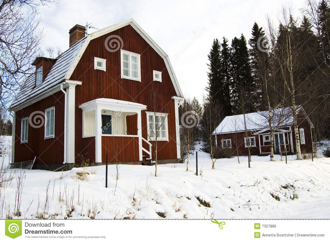 traditional swedish houses in winter snow stock image - image