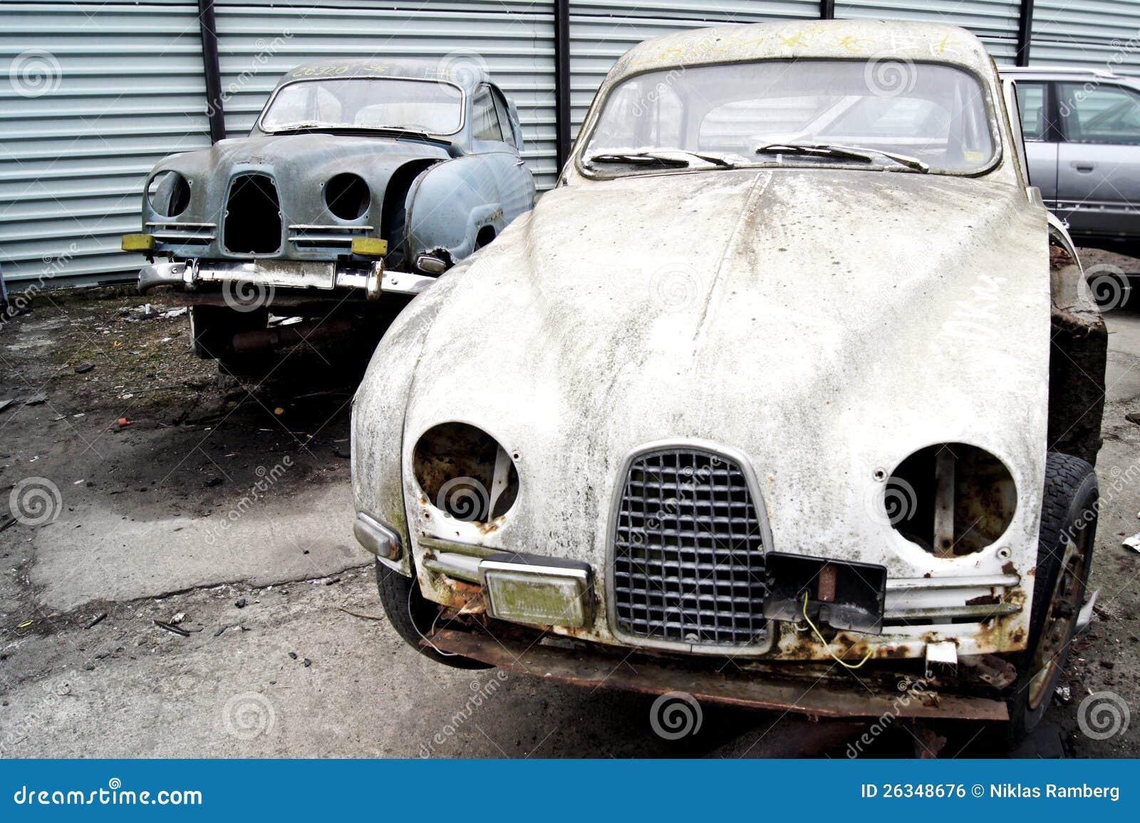 Swedish Classic Cars In The Junk Yard Stock Photo