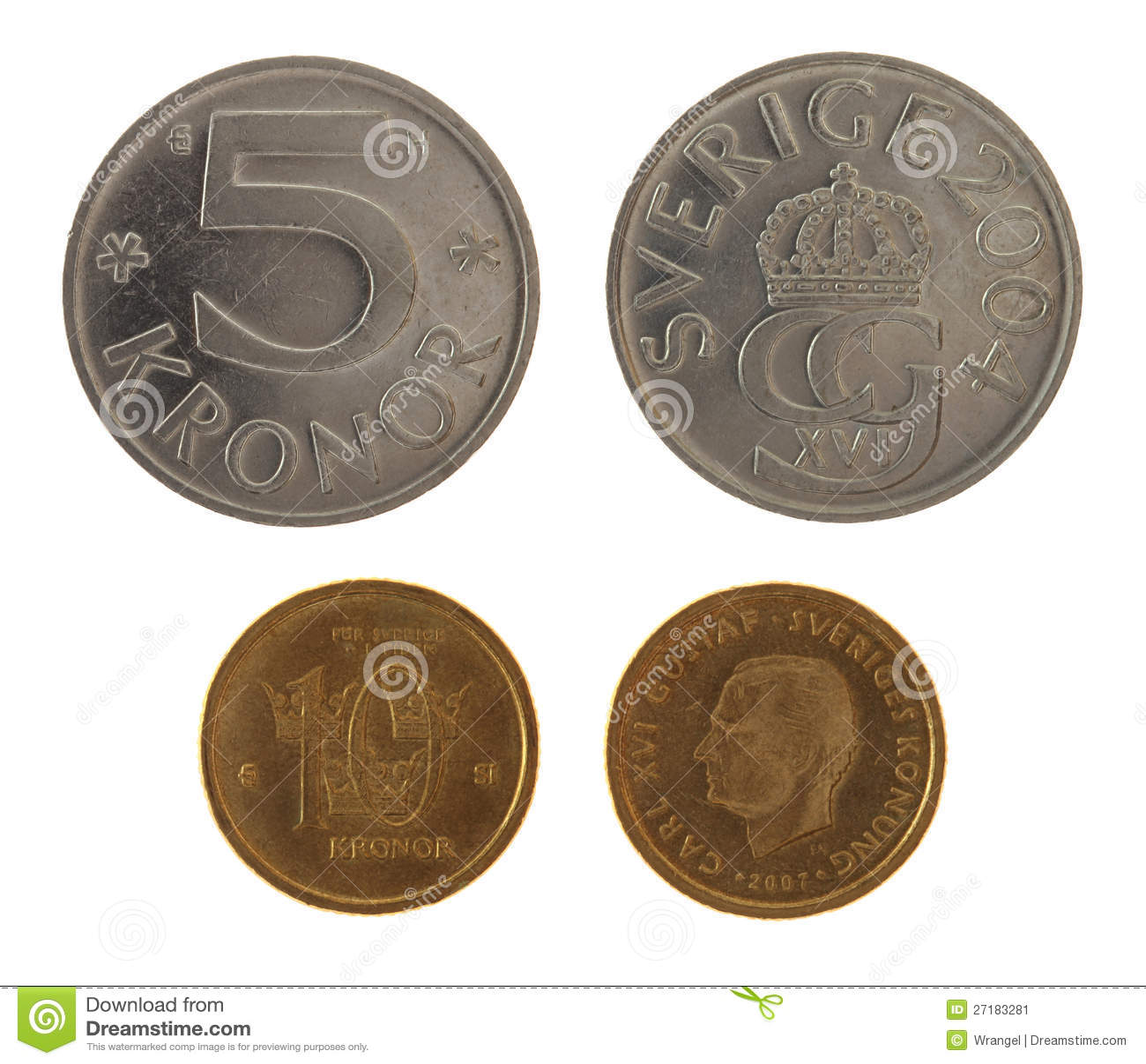 Swedish Coins Isolated On White Stock Image - Image: 27183281