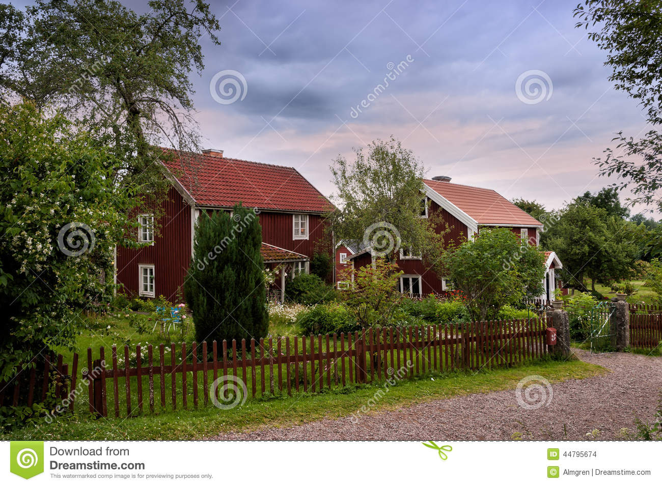Swedish Farm With Typical Red Wooden Buildings Stock Image