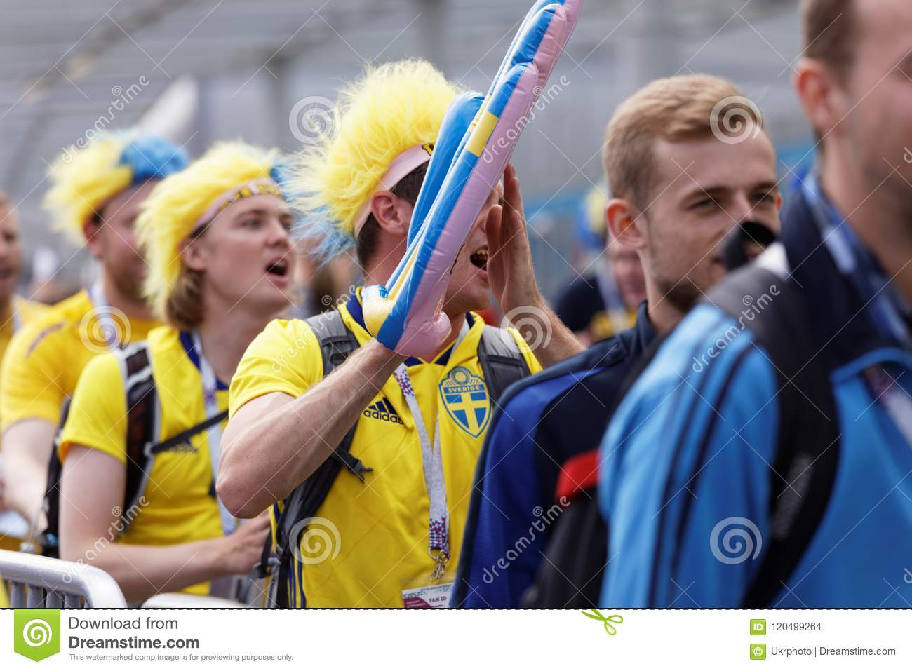 e633f20f026 St. Petersburg, Russia - July 3, 2018: Swedish football fans at Saint  Petersburg stadium before the match of FIFA World Cup 2018 Sweden vs  Switzerland.