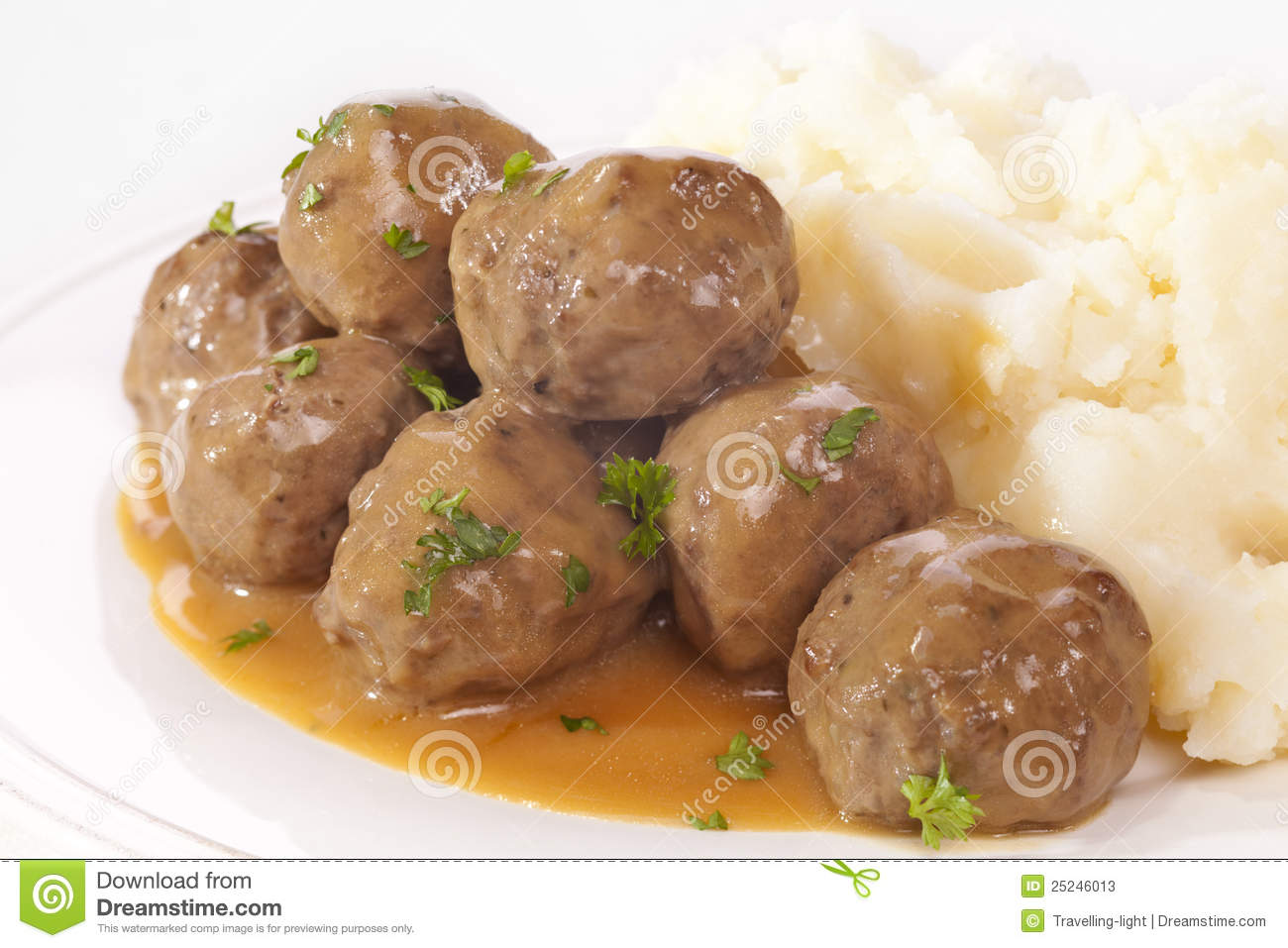 Swedish Meatballs With Mashed Potato Stock Photos - Image: 25246013
