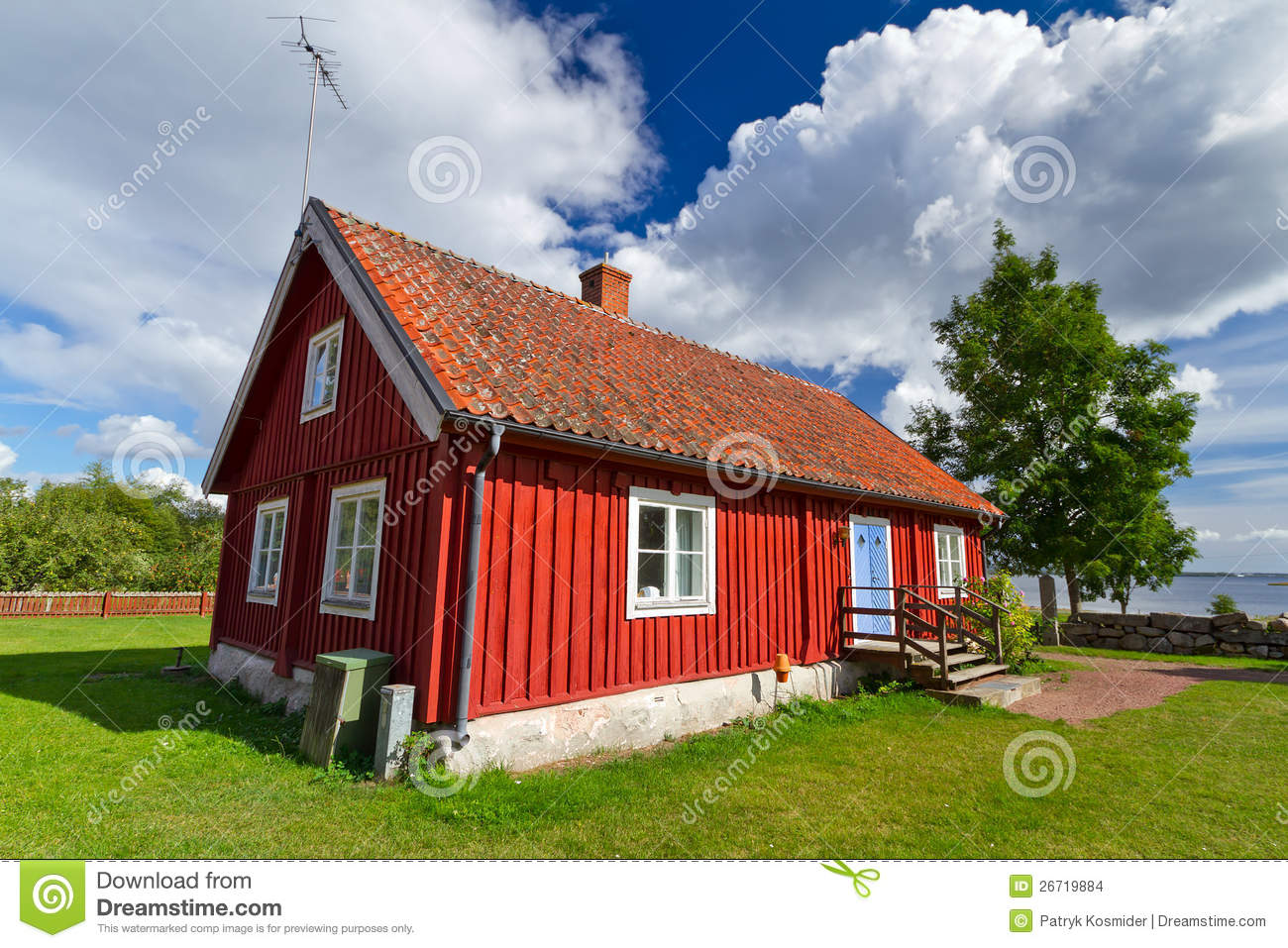 Swedish red cottage house stock photo image of nature for Red cottage