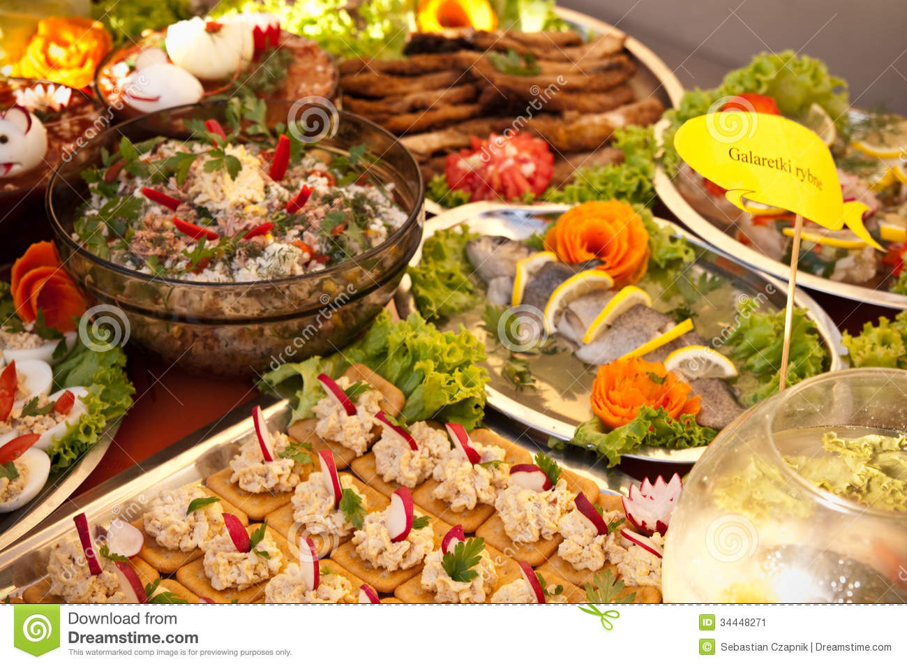 Swedish table of fish dishes stock image image of many for Fish dish menu