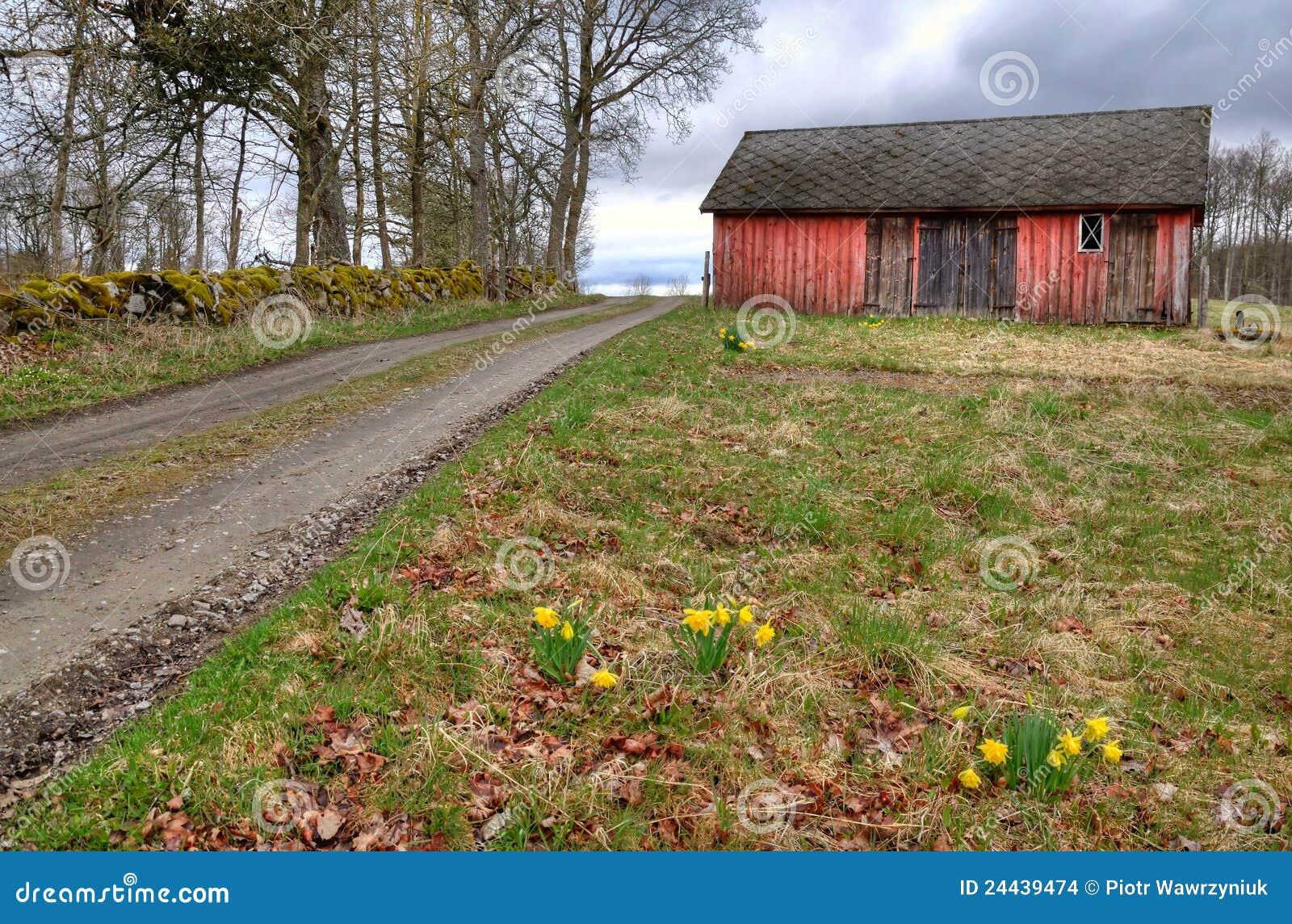 Swedish Village In Spring Season Stock Photo Image Of
