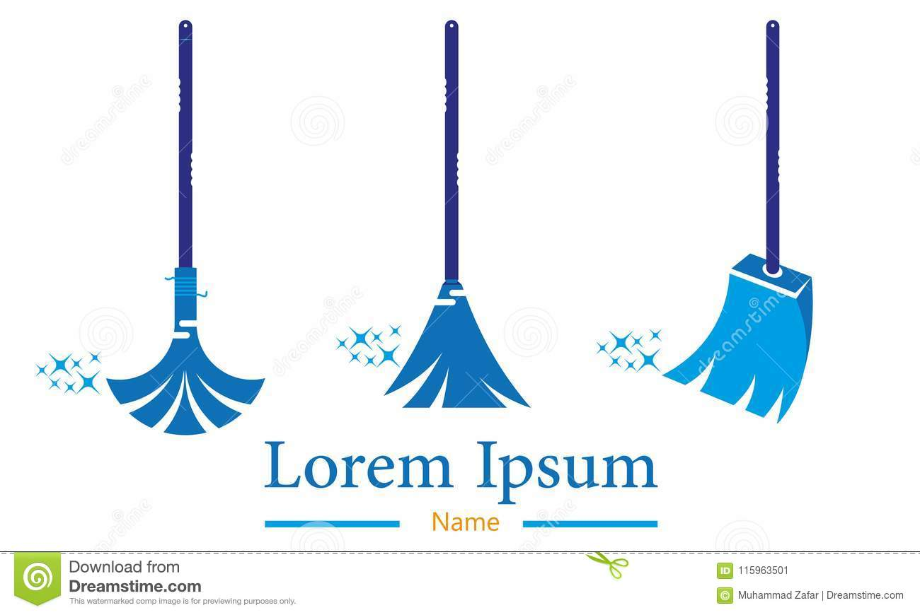 Sweeper Logo Design Cleaning And Maintenance Logo and vector Template,. Interior, housecleaning.