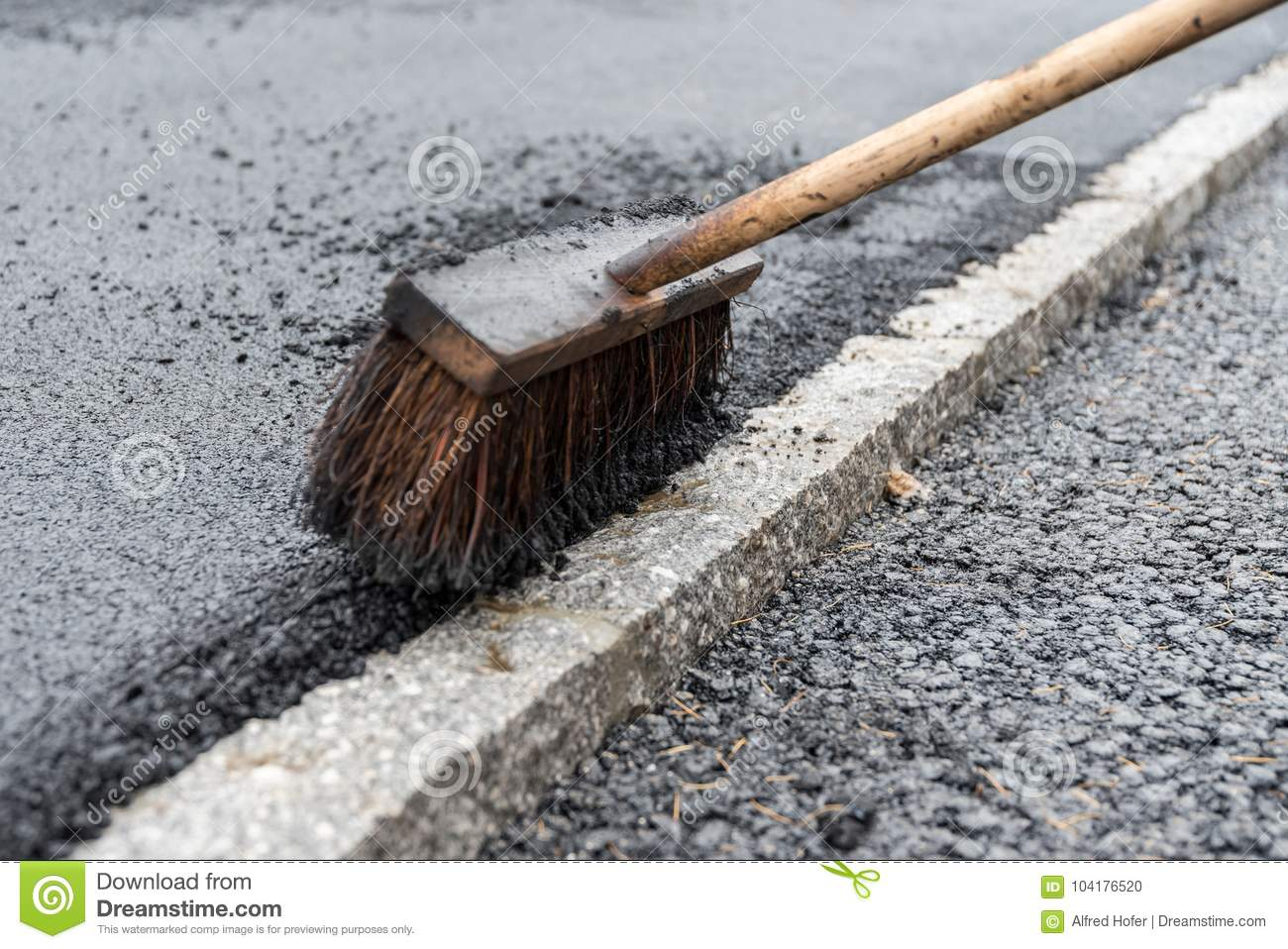Sweeping Broom For Asphalting Works Stock Photo - Image of