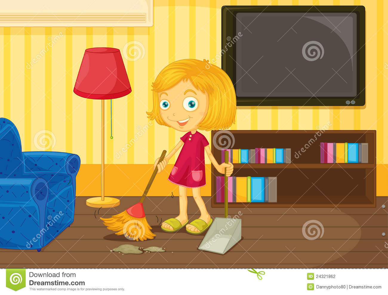 Sweeping The Floor Stock Vector Image Of Television