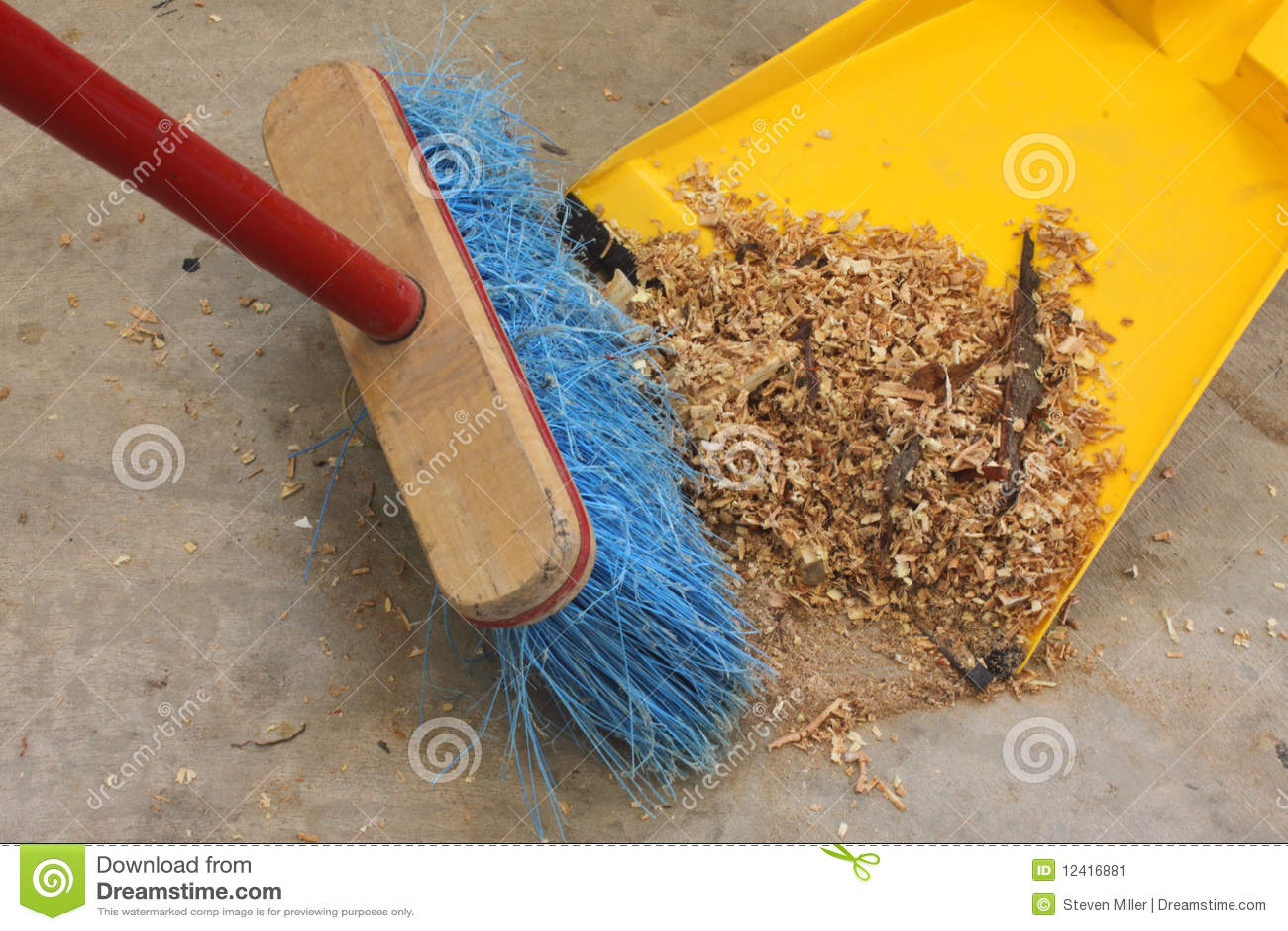 Sweeping Up Wood Shavings Stock Image Image Of Shavings