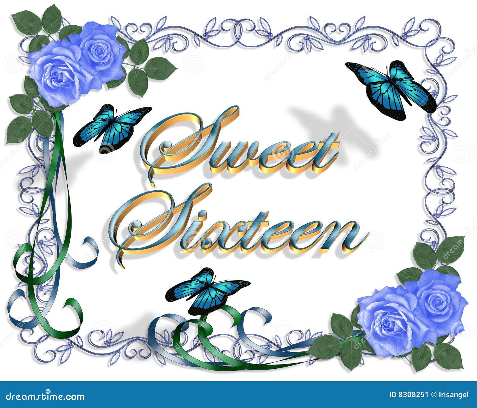 Sweet 16 birthday invitation border stock illustration sweet 16 birthday blue roses border stock image kristyandbryce Choice Image