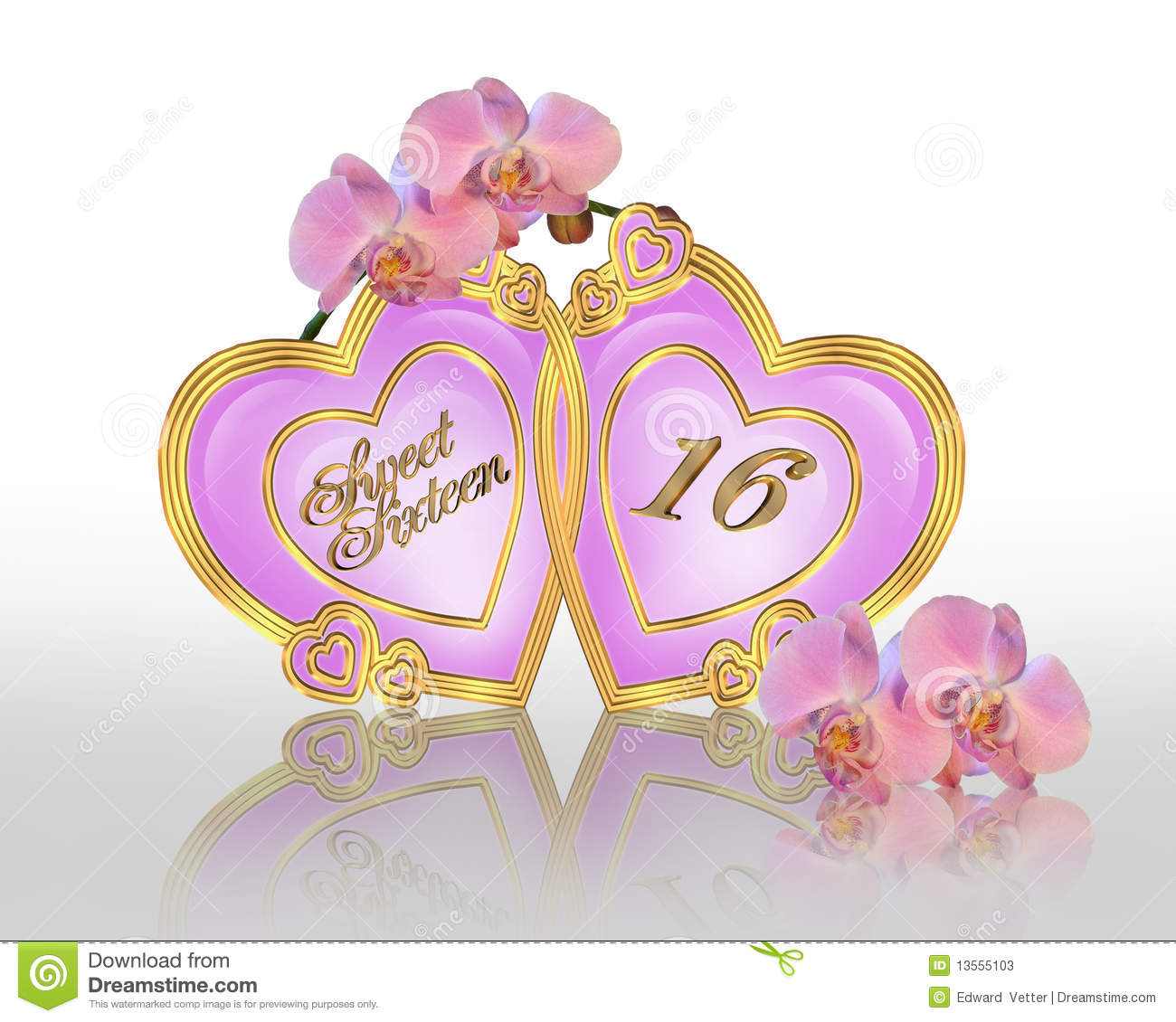 ... pink orchids for sweet 16 birthday party invitation or greeting card