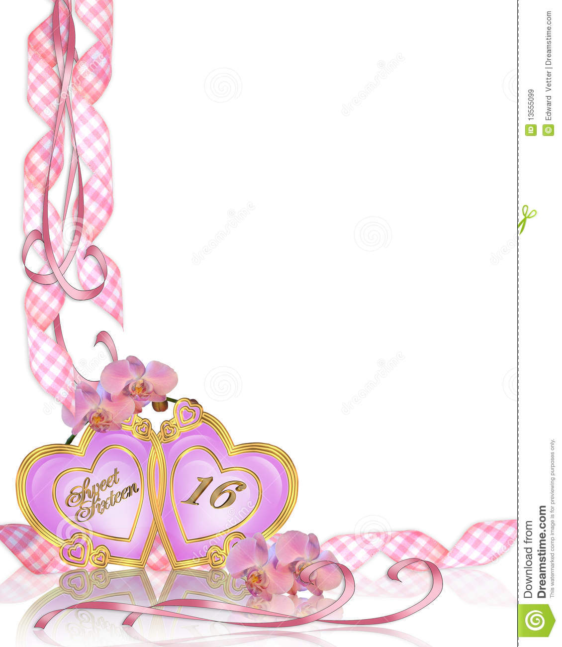 Image And Illustration Composition Of Pink Orchids For Sweet 16 Birthday Party Invitation Template With Copy Space