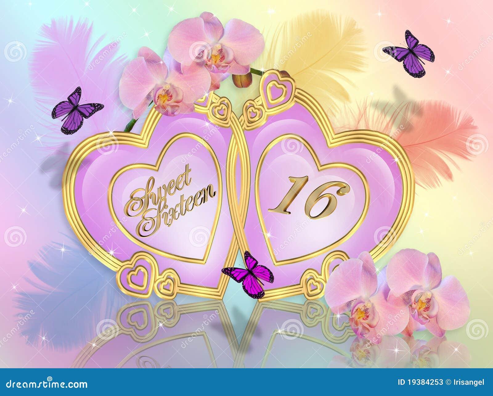 Sweet 16 Invitation Graphic Stock Illustration Illustration Of