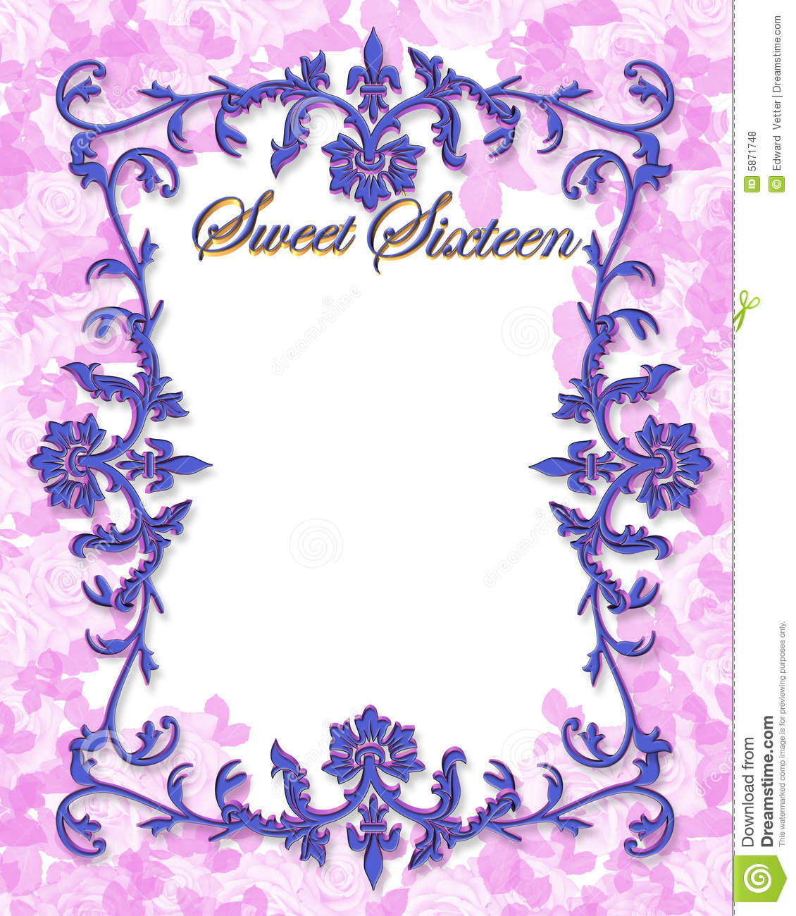 Sweet 16 Birthday Illustration For Ornamental Frame Background Border Or Invitation With Copy Space
