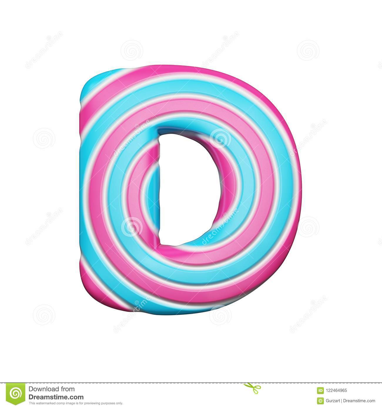 Sweet Alphabet Letter D. Christmas Font Made Of Pink And Blue Spiral ...