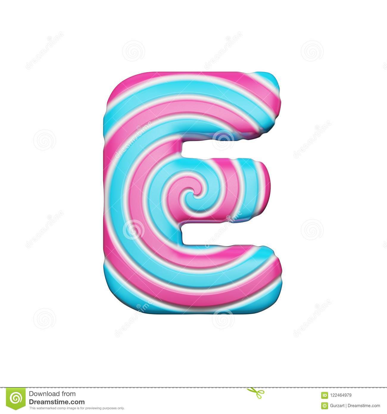 Sweet Alphabet Letter E. Christmas Font Made Of Pink And Blue Spiral ...