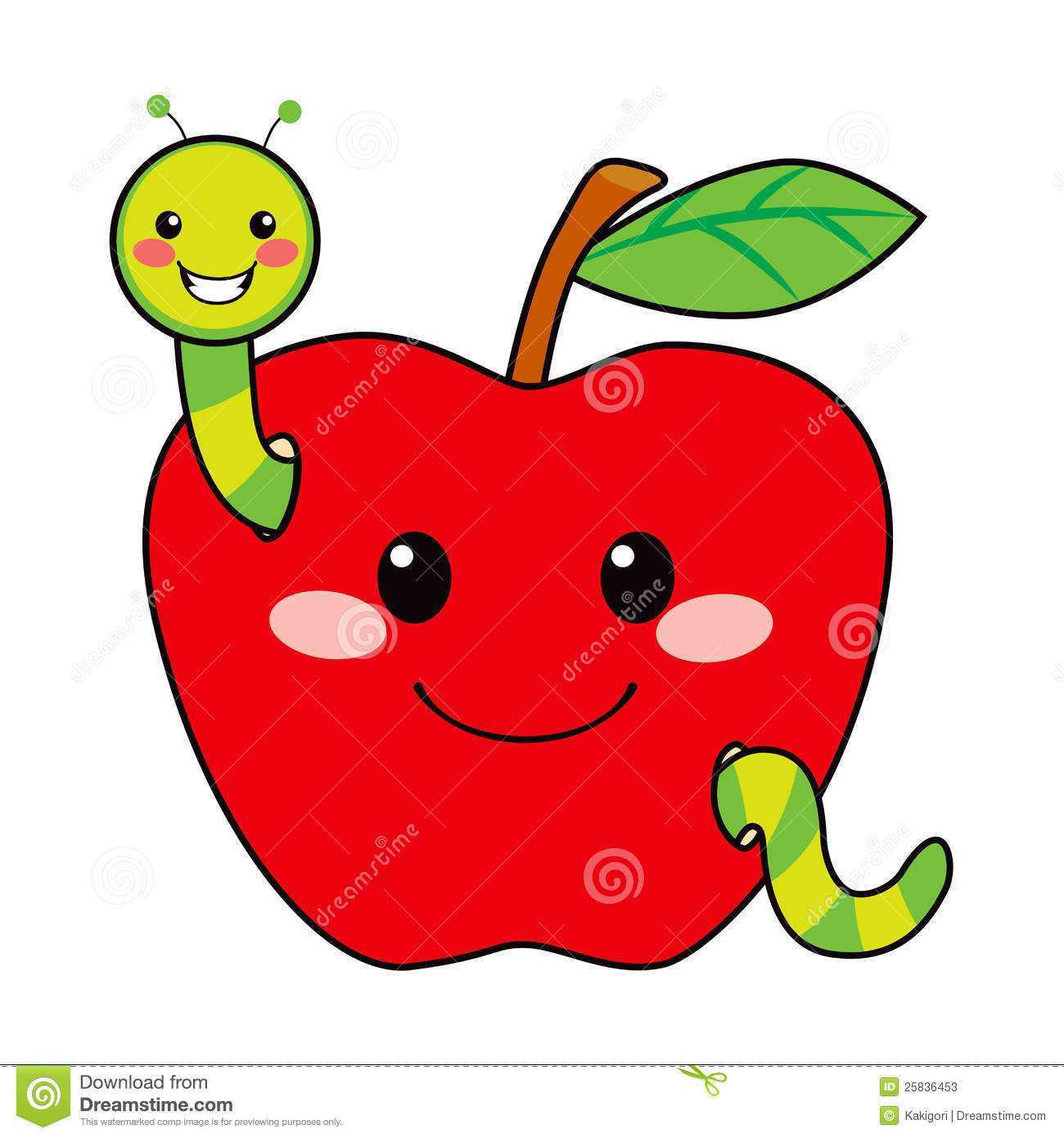 Cute green worm happy in love with sweet red apple.
