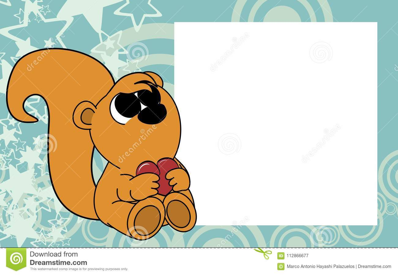 Sweet Little Baby Squirrel Valentine Picture Frame Background Stock ...