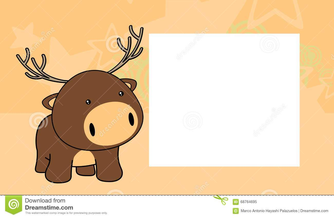 Sweet Baby Deer Cartoon Frame Background Stock Vector - Illustration ...