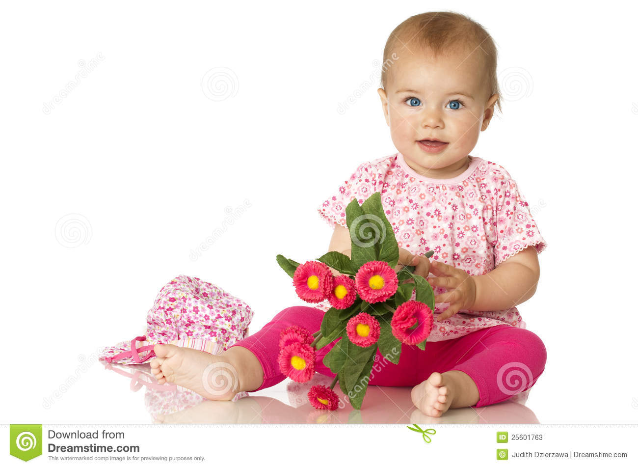 Sweet Baby With Flowers Stock Image. Image Of Pink