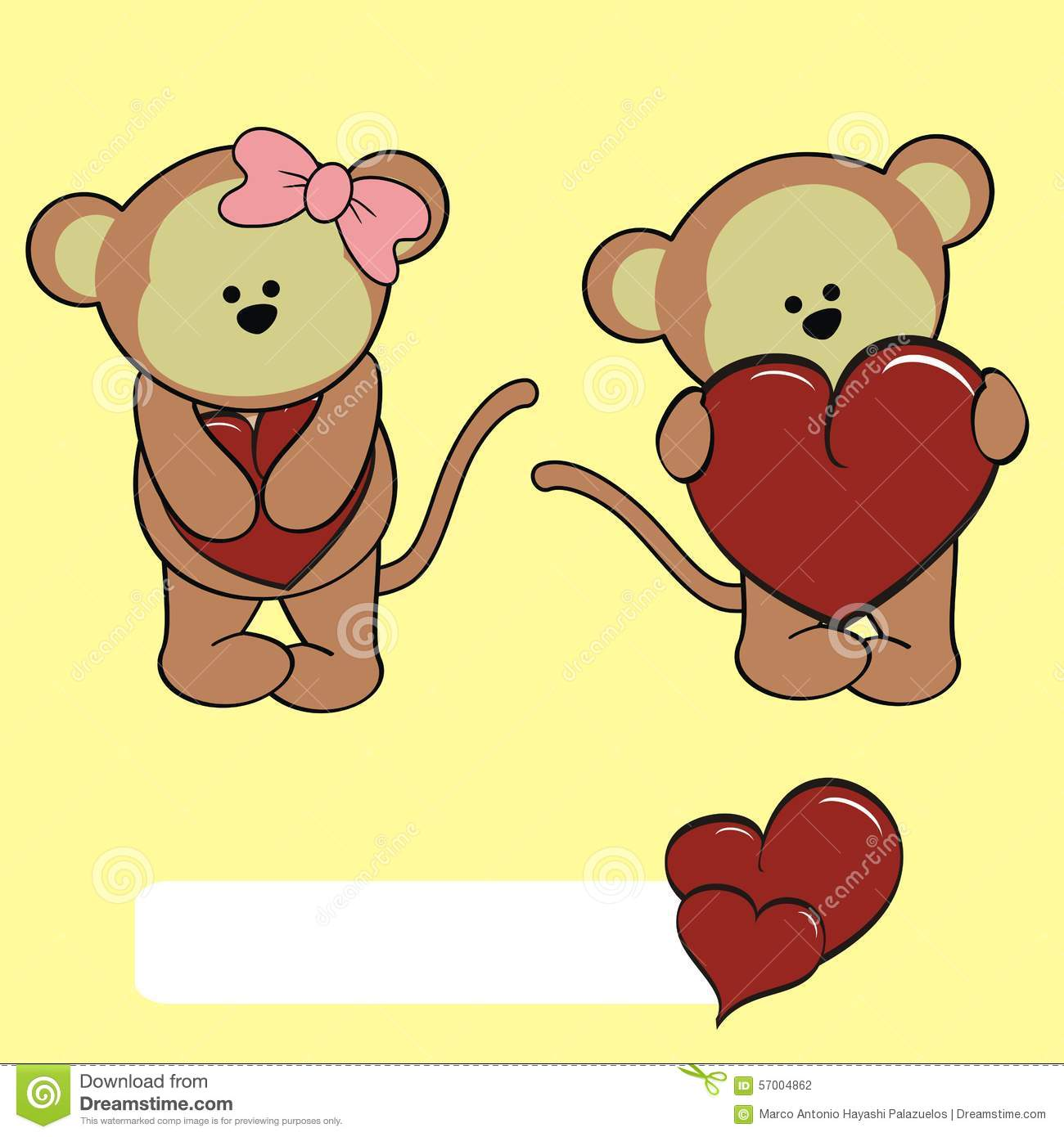 Cute cartoon monkey love - photo#7