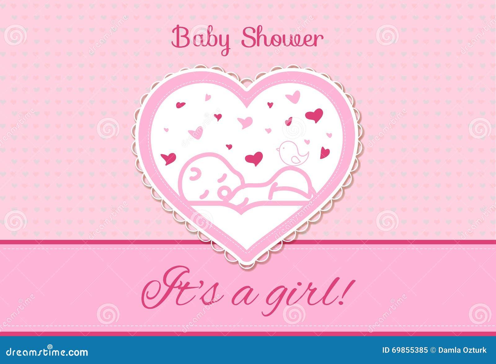 Sweet Baby Shower Invitation Card Design Stock Vector Illustration