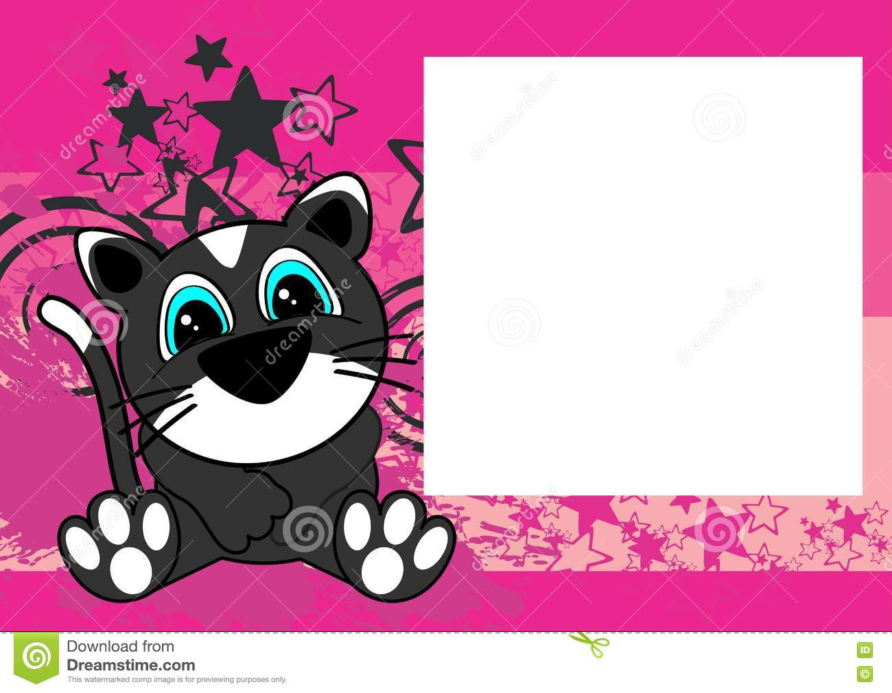 Sweet Baby Sit Cat Cartoon Frame Background Stock Vector ...