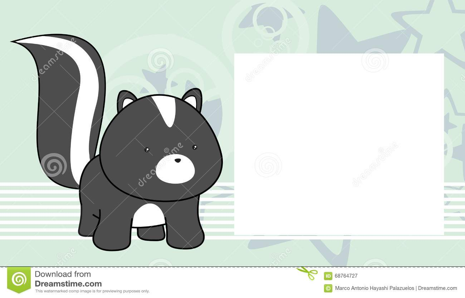 Sweet Baby Skunk Cartoon Frame Background Stock Vector ...