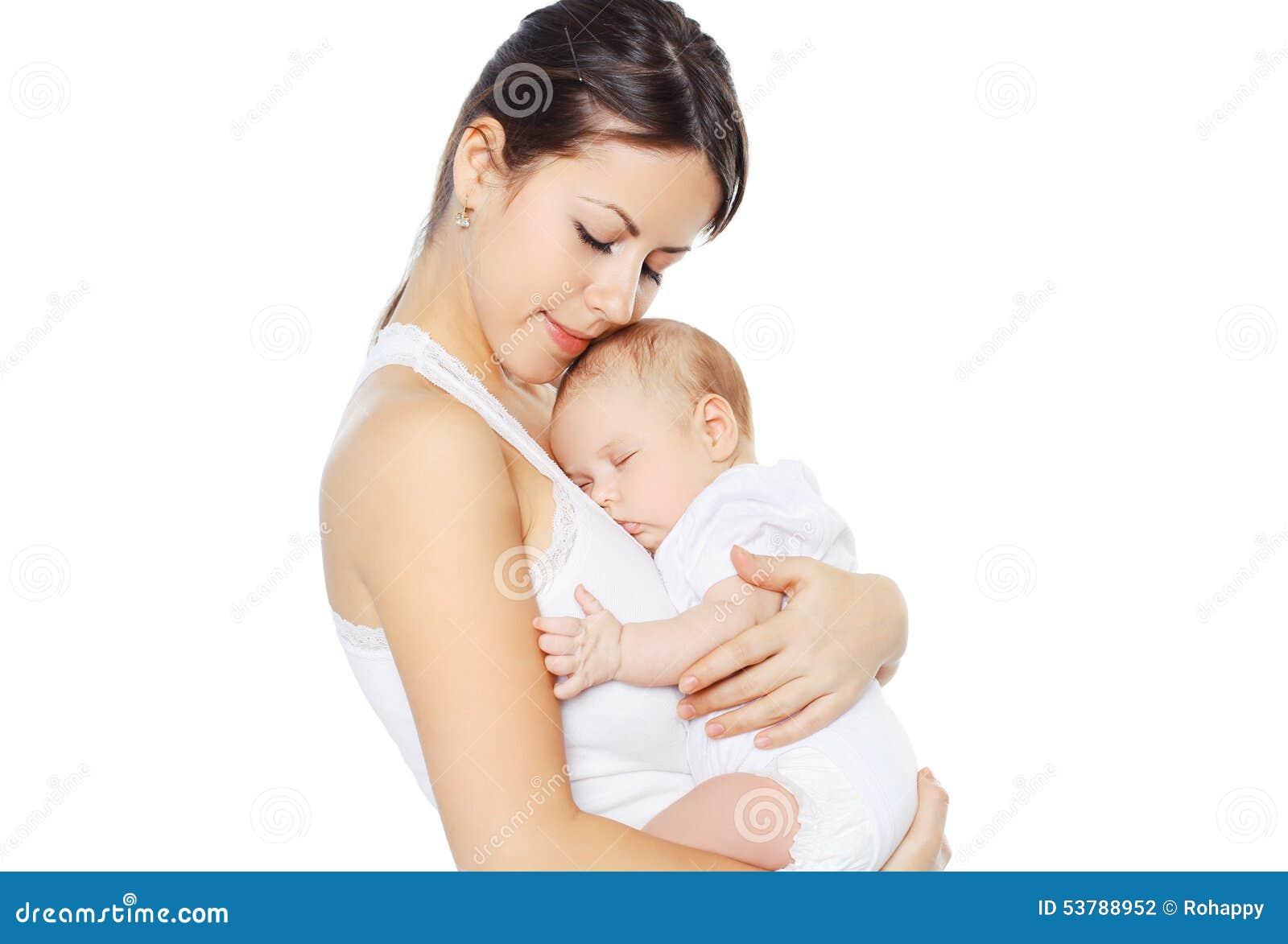 88112745c9e Sweet Baby Sleeping On Hands Mother Stock Photo - Image of adorable ...
