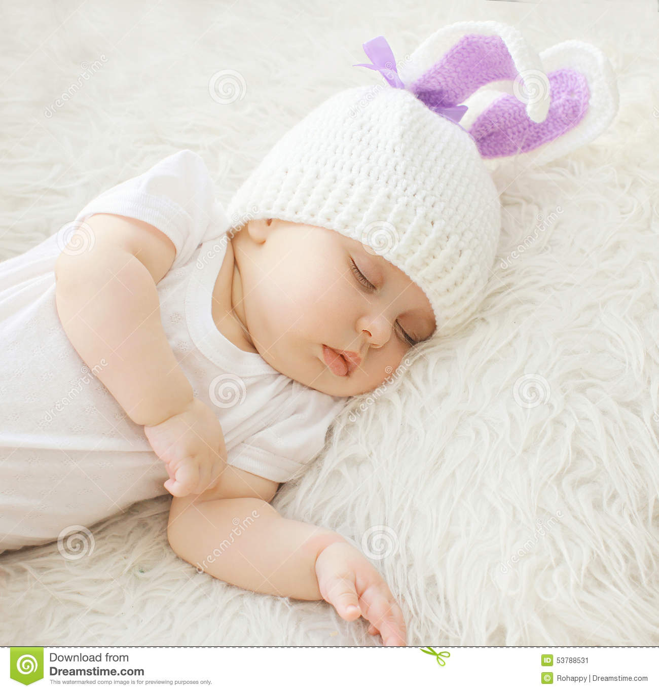 Sweet Baby Sleeping At Home On The Bed Stock Image Image Of Home Development 53788531