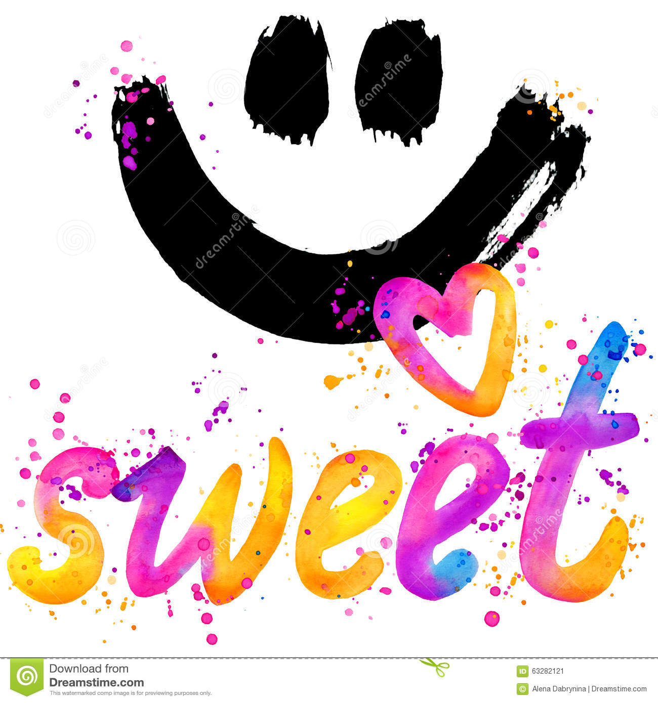 Sweet baby. T-shirt lettering graphics design. Text sweet. T-shirt graphics design. watercolor illustration