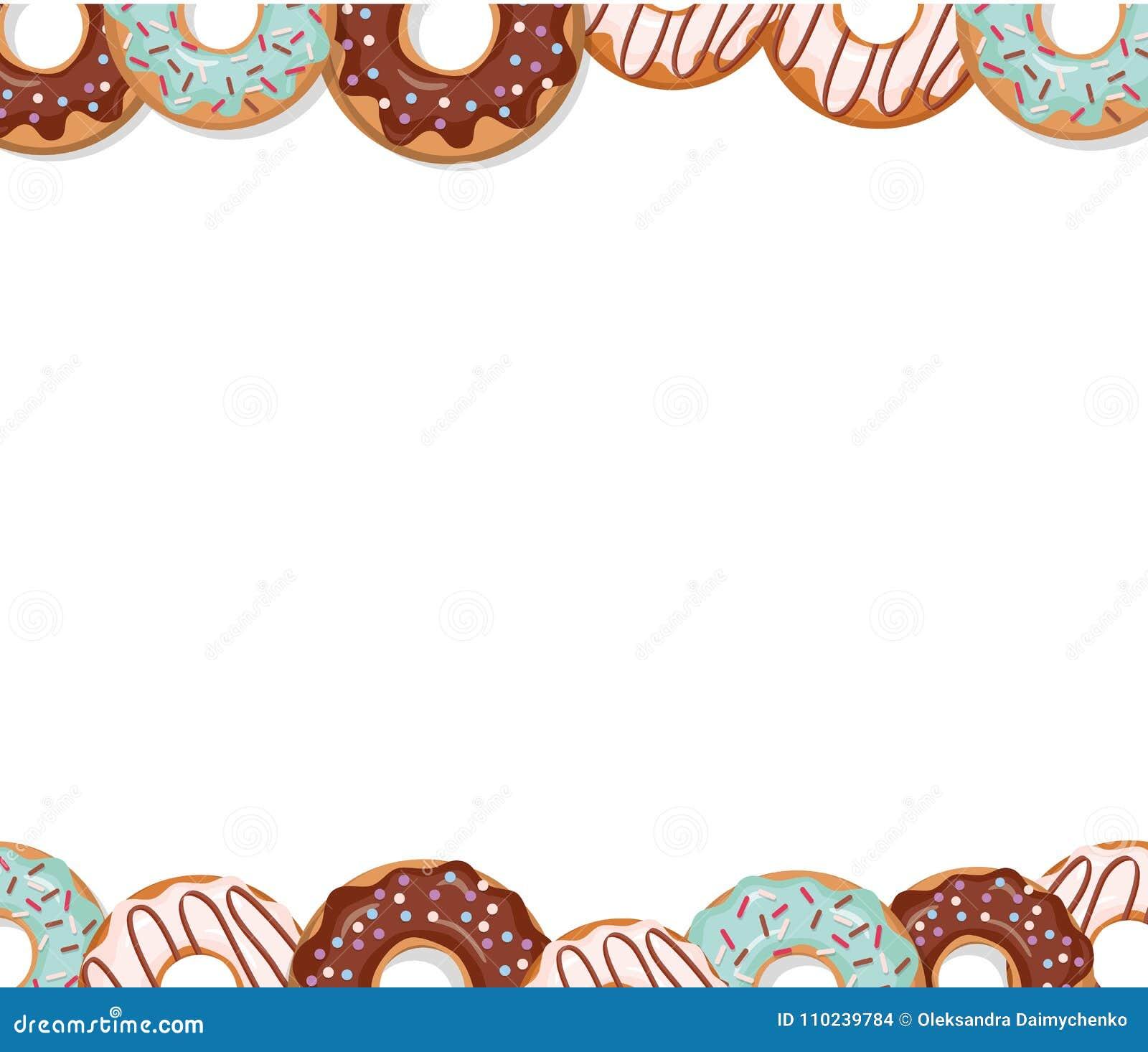 sweet bakery design template cartoon donut borders stock vector