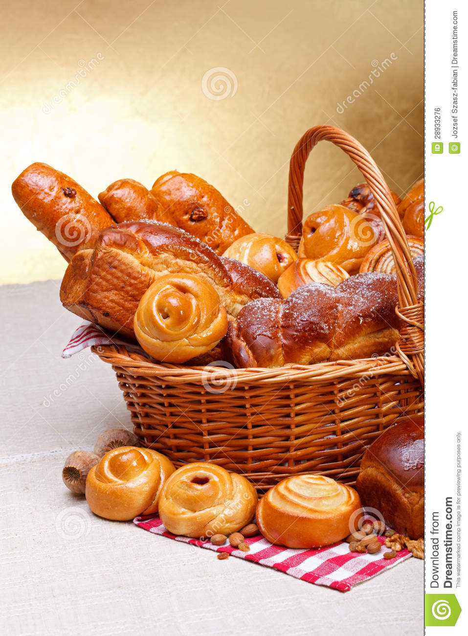 Sweet Bakery Products In Basket Stock Photo Image 28933276