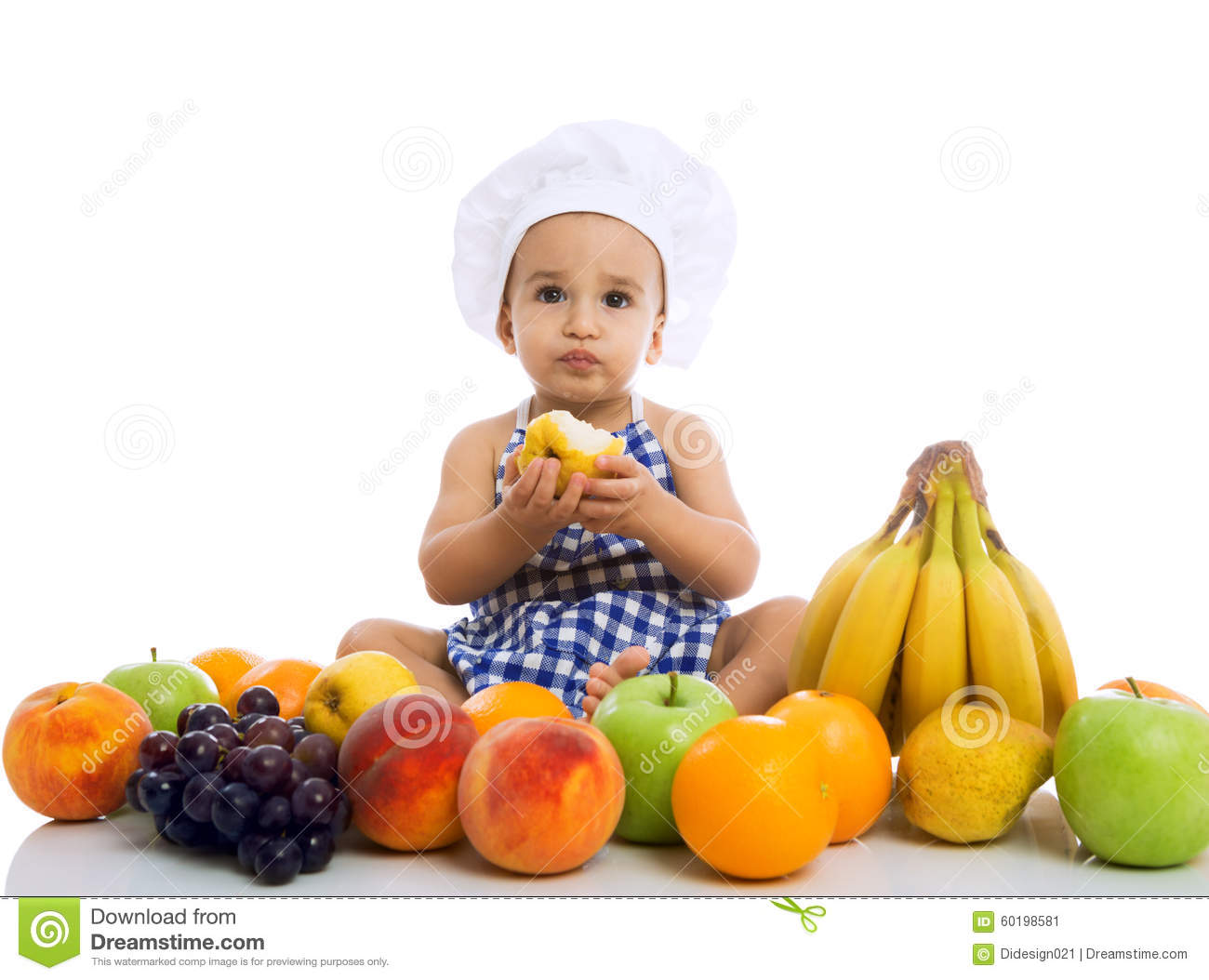 Sweet Beautiful Baby Cook Eating Healthy Fruits Stock ...
