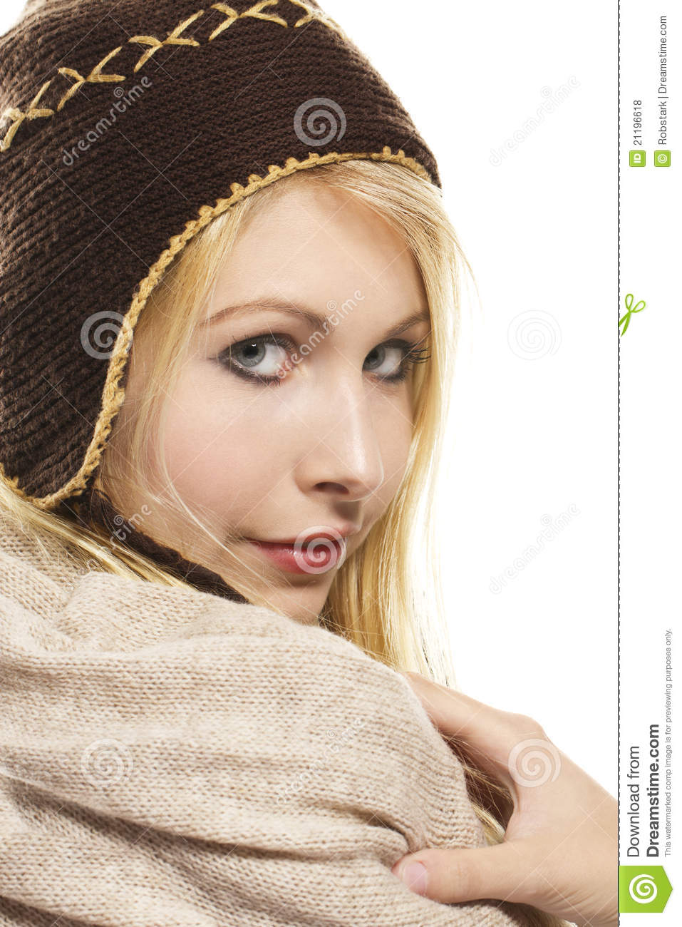 Sweet beautiful blonde woman wearing winter fashio